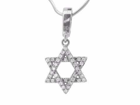 Jewish Star of David Pendant White Gold