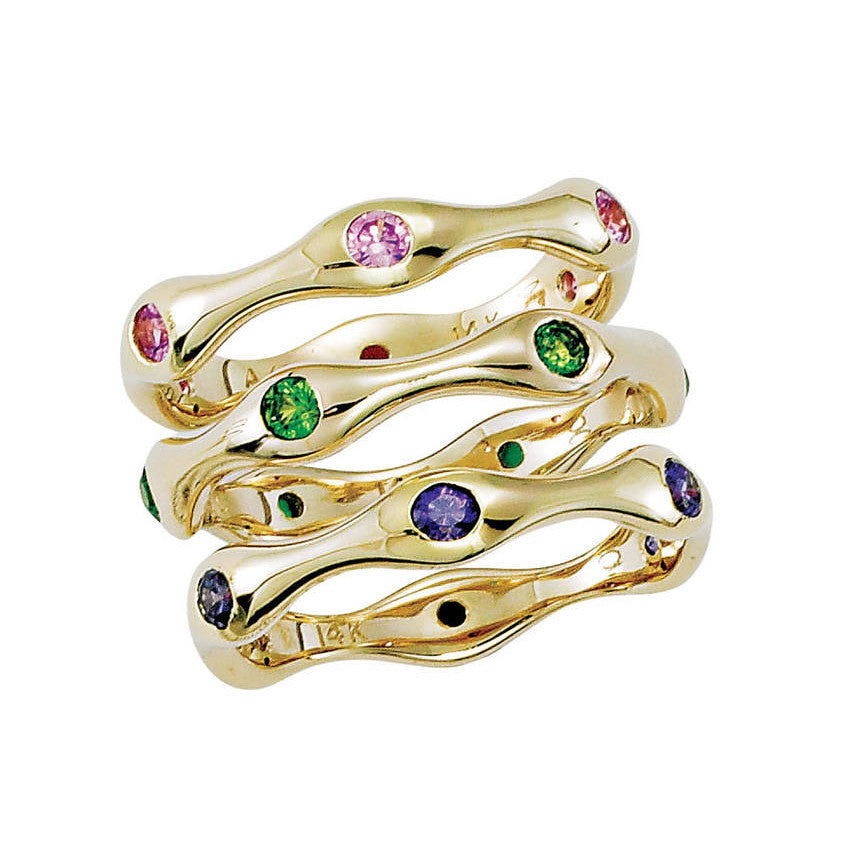 Wave Birthstone Stackable Ring