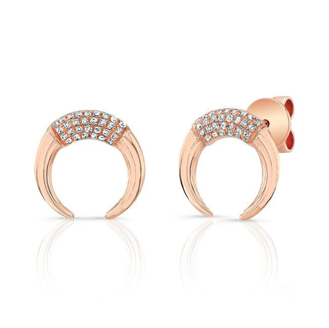 Luna Skye 14kt rose gold and diamond mini horn stud earrings