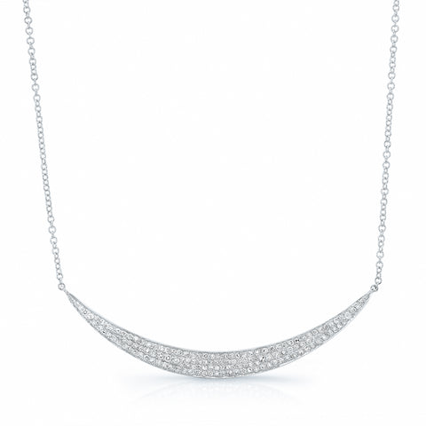 Sideways Pave Diamond Crescent Necklace
