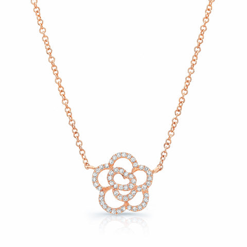 Diamond Open Flower Necklace