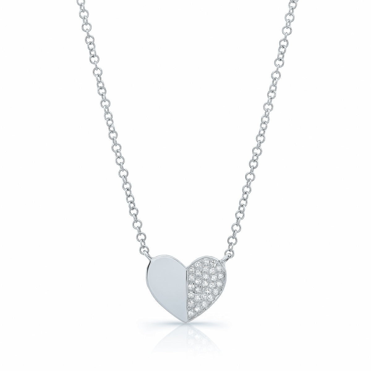 Half Pave Half Solid Gold Heart Necklace