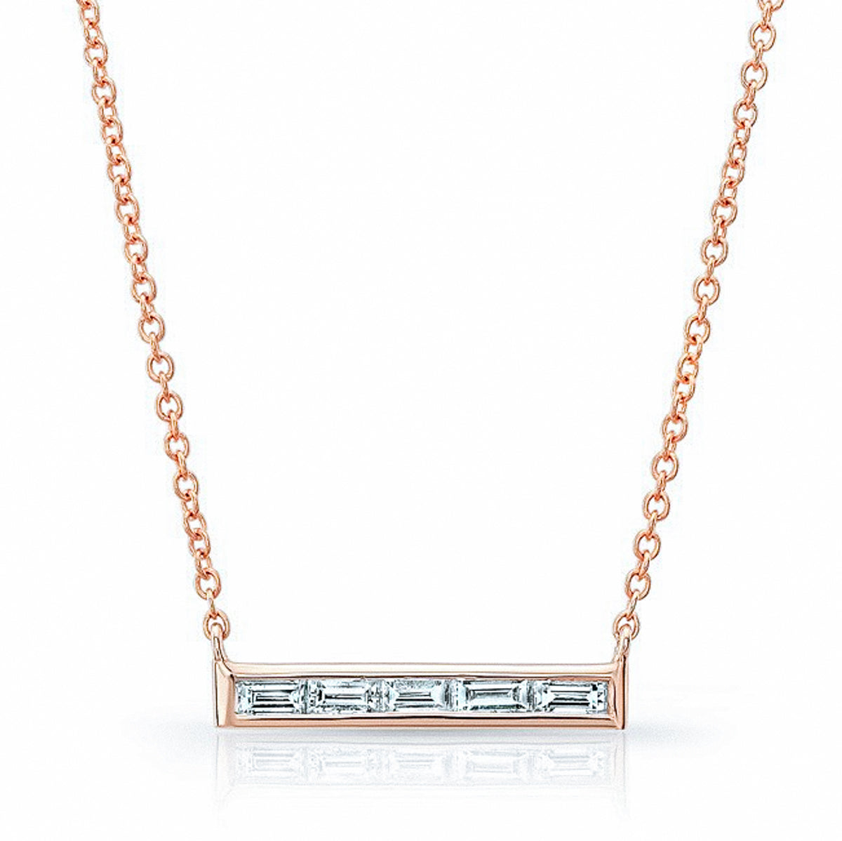 Baguette Diamond Bar Necklace