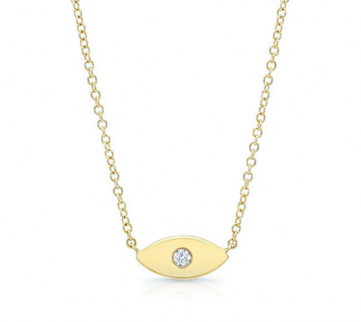 Solid Gold with Diamond Evil Eye Talisman Necklace