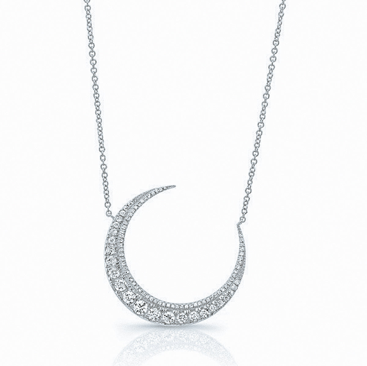 Diamond Bezel Crescent Necklace