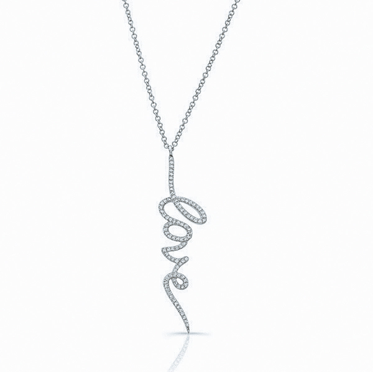 Vertical LOVE Diamond Necklace