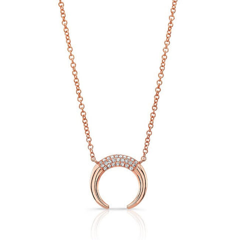 Luna Skye 14kt rose gold and diamond mini horn necklace