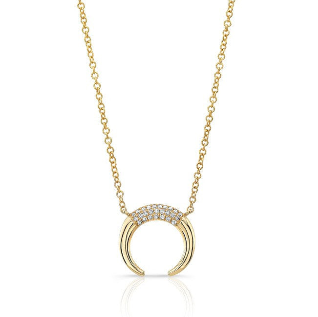 Luna Skye 14kt yellow gold and diamond mini horn necklace