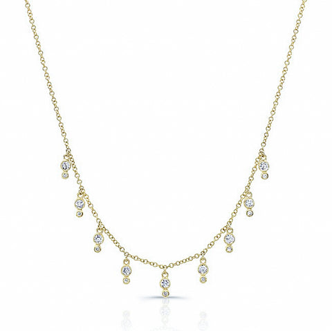 Diamond Bezel Fringe Necklace