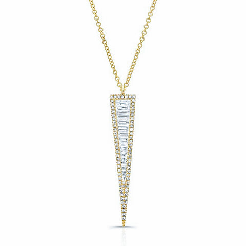 Large Diamond Baguette Dagger Necklace