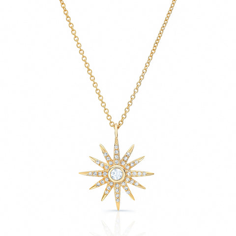 Rose Cut Diamond Starburst Necklace