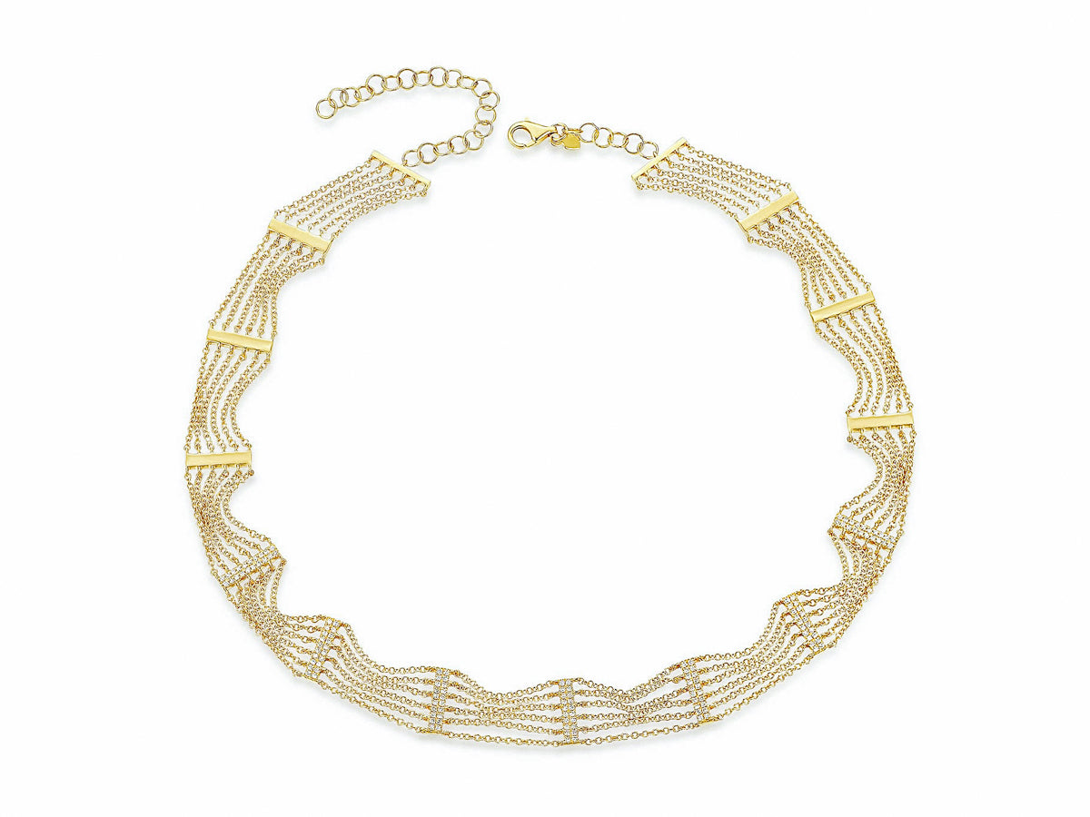 Pave Bar Layered Chain Choker