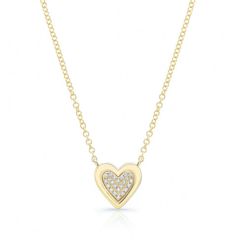 Pave Heart with Solid Gold Outline