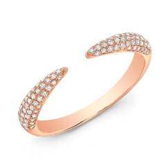 Triple Row Diamond Claw Cuff Ring