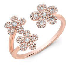 Flower Trio Baguette Ring