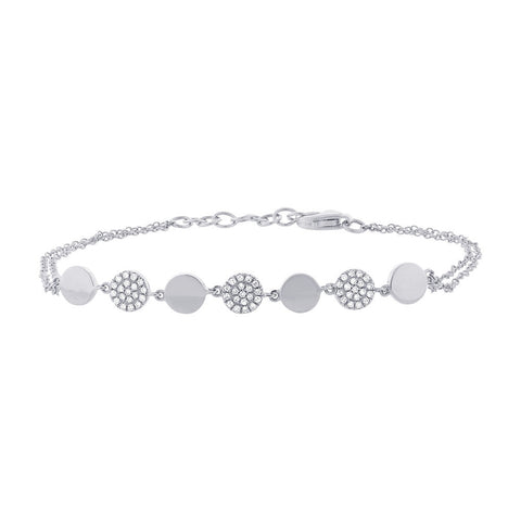 White Gold and Diamond Disc Bracelet