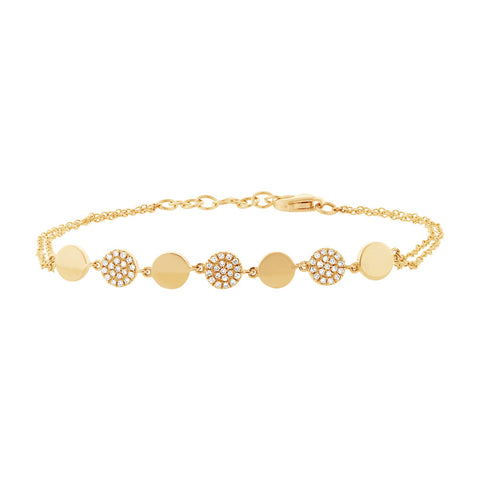 Yellow Gold and Diamond Disc Bracelet