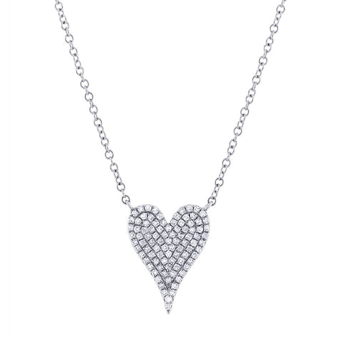 White Gold Small Pave Heart Necklace
