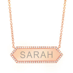 Hexagon Nameplate with Diamond Border