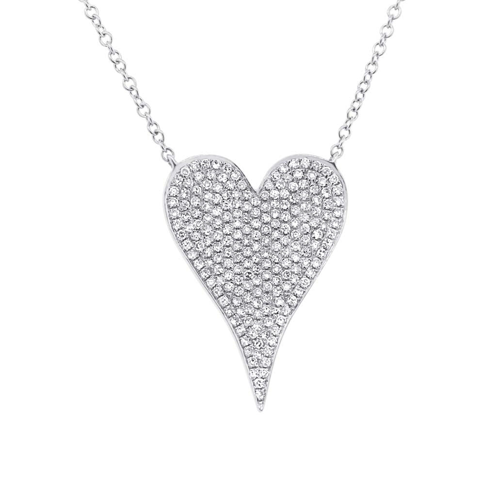 White Gold Medium Pave Heart Necklace