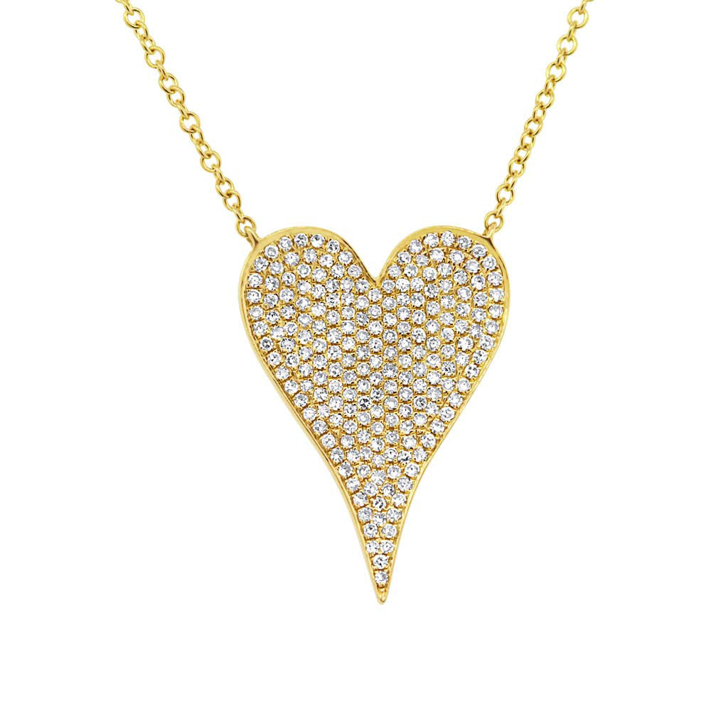 Yellow Gold Medium Pave Heart Necklace