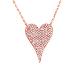 Rose Gold Medium Pave Heart Necklace