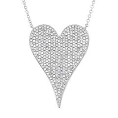 White Gold Jumbo Pave Heart Necklace