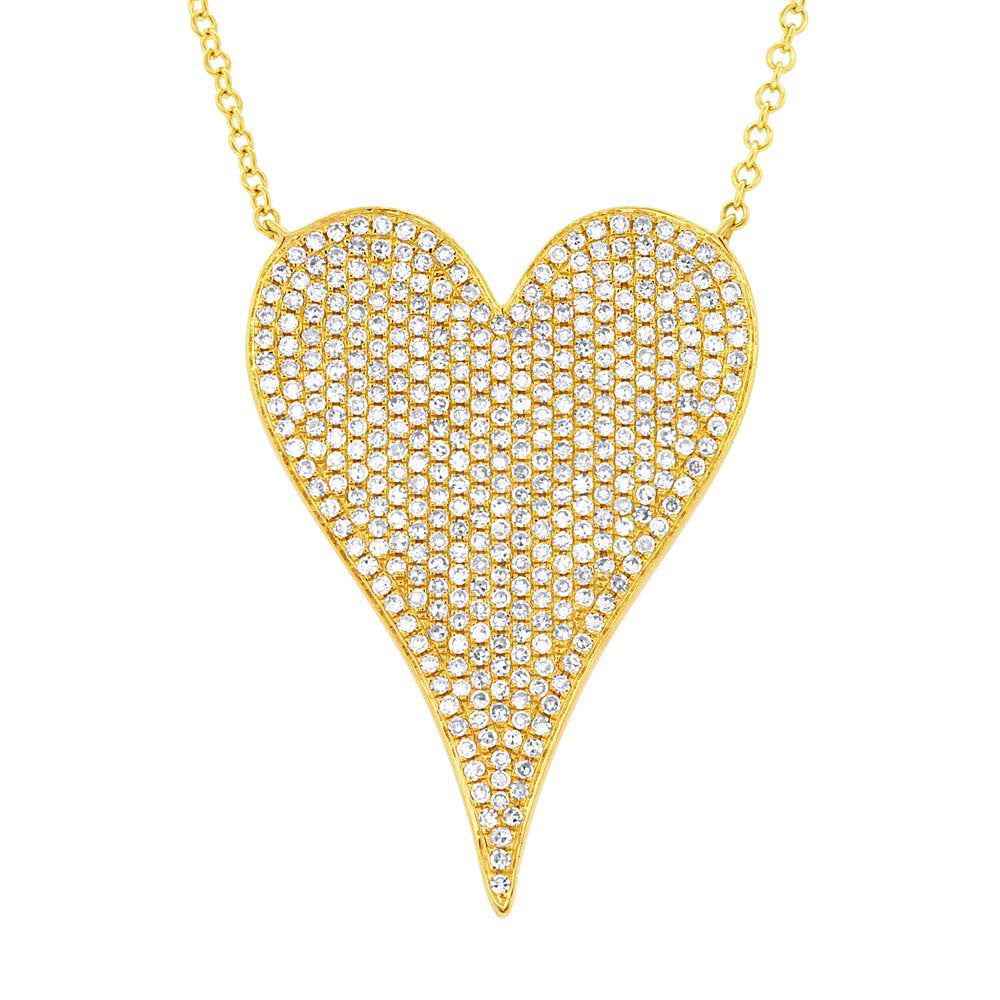 Yellow Gold Jumbo Pave Heart Necklace