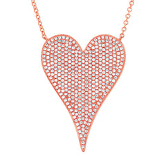 Rose Gold Jumbo Pave Heart Necklace