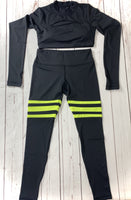 Black/Neon Yellow 3 Stripe Retro Leggings