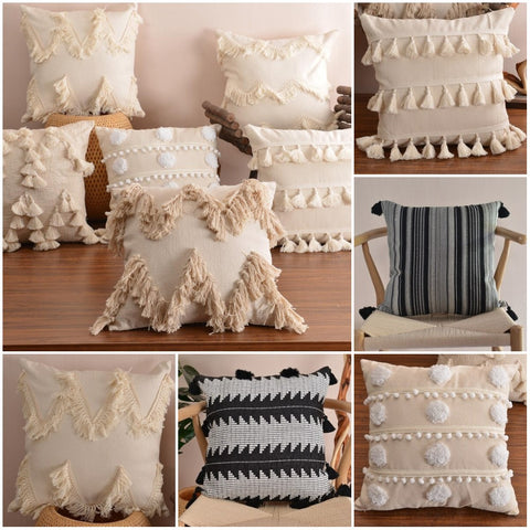 Boho-Plush-Pillow-Cover-With-Tassels