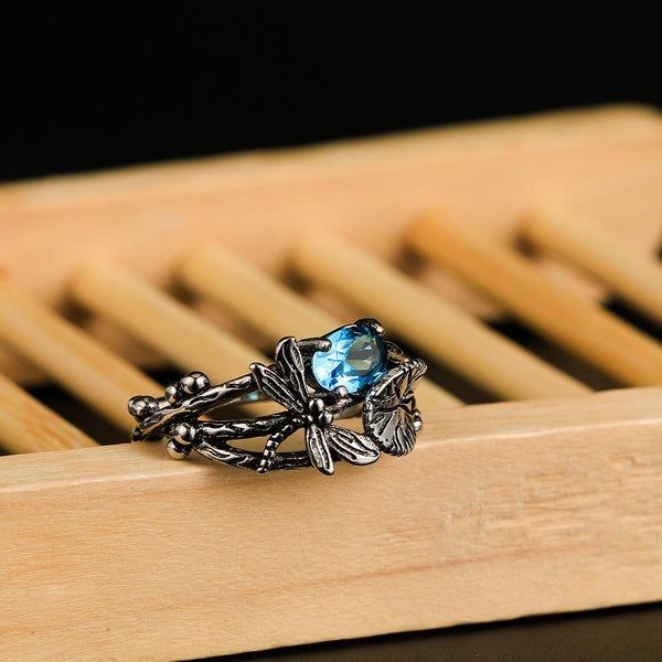 Handmade Lotus Gem Dragonfly Ring