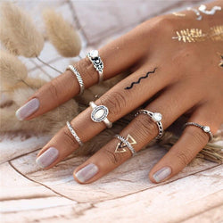 7 Piece Set: Opal Boho Rings Rings Boho Peak