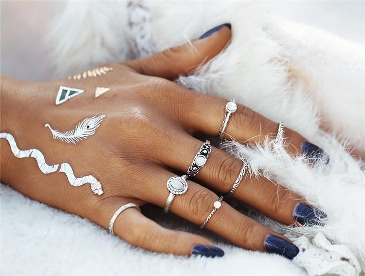7 Piece Set: Opal Boho Rings Rings