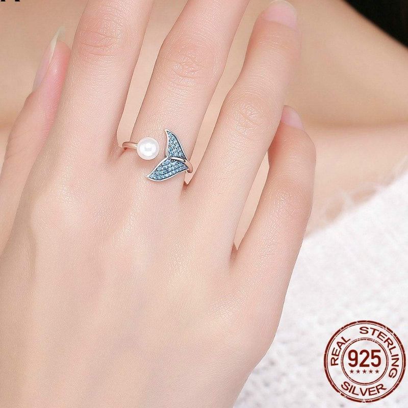 925 Sterling Silver Mermaid Tail Ring Boho Peak