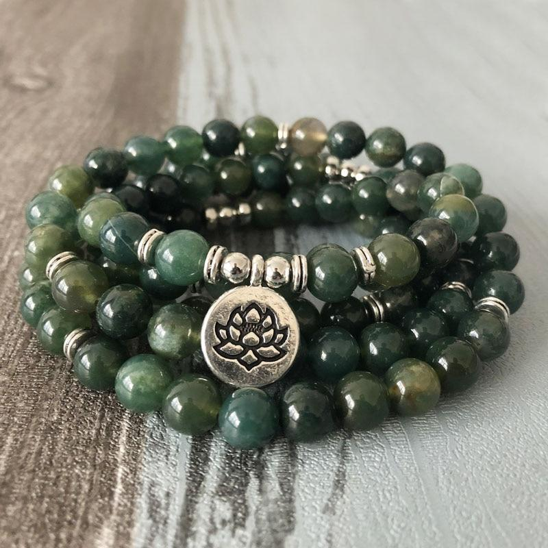 Tranquil Forest Moss Agate Mala