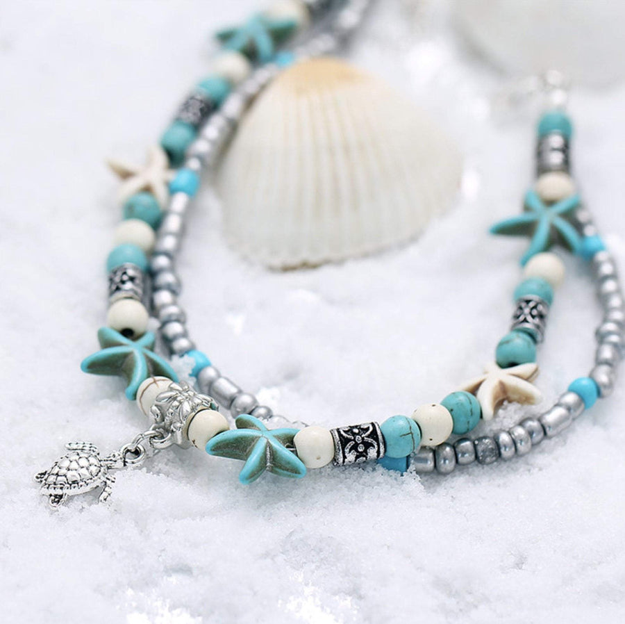 (Best Seller) Handmade Sea Star & Turtle Anklet Sea Turtle