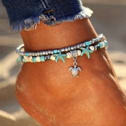 (Best Seller) Handmade Sea Star & Turtle Anklet Boho Peak Sea Turtle