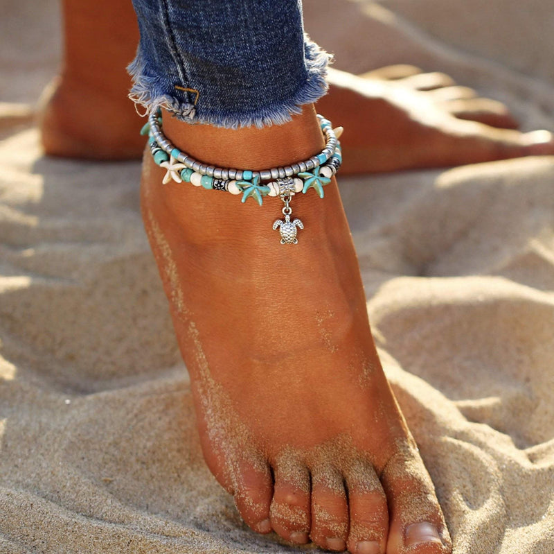 (Best Seller) Handmade Sea Star & Turtle Anklet Boho Peak