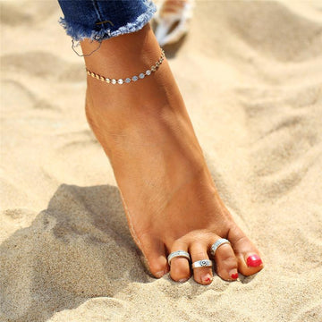 Bohemia Beach Toe Rings - 3 Piece Set (Adjustable)