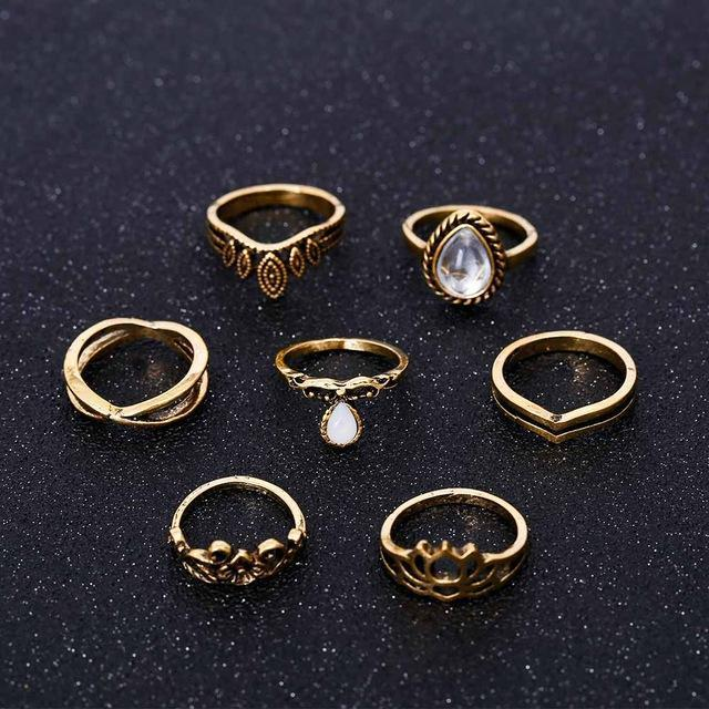 Bohemian Lotus Rings - 7 Piece Set Rings Boho Peak Gold