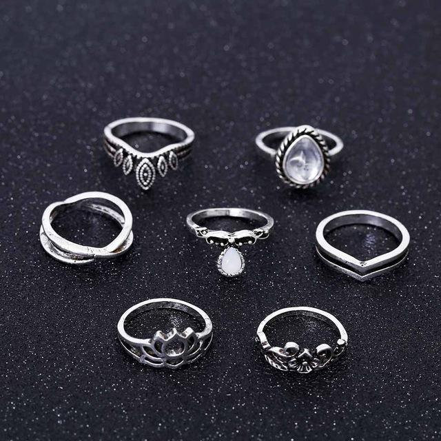 Bohemian Lotus Rings - 7 Piece Set Rings Boho Peak