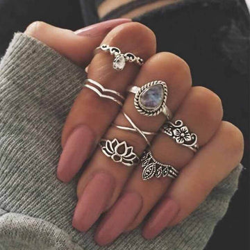 Bohemian Lotus Rings - 7 Piece Set Silver Rings