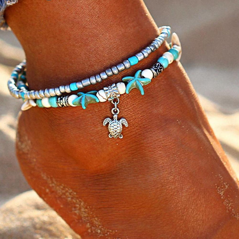 Bohemian Summer Beach Anklet Boho Peak Sea Turtle