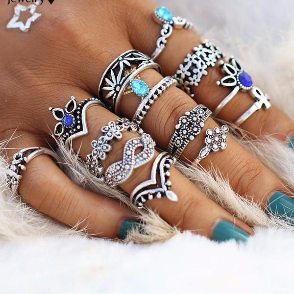 Boho Crystal Ring Stack - 13 Piece Set Boho Peak
