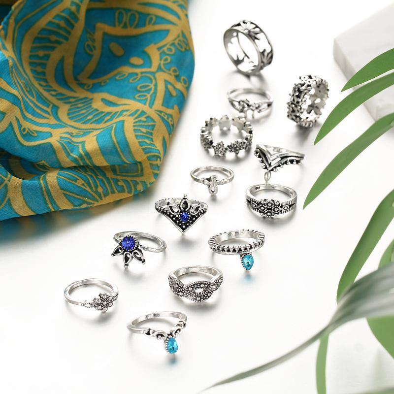 Boho Crystal Ring Stack - 13 Piece Set
