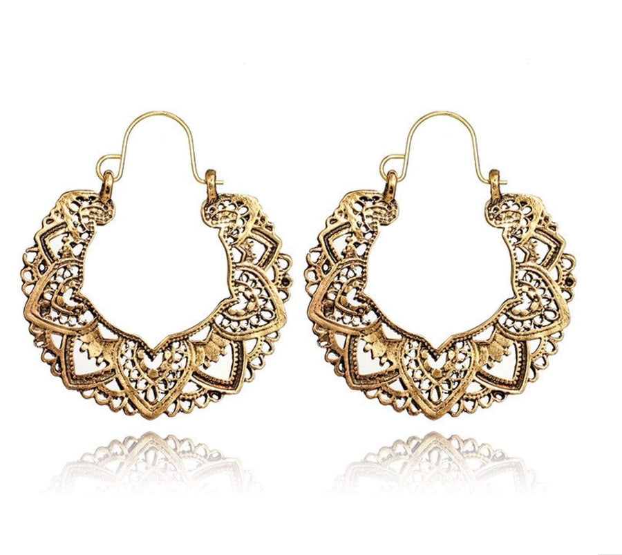 Boho Lotus Hoop Earrings Gold