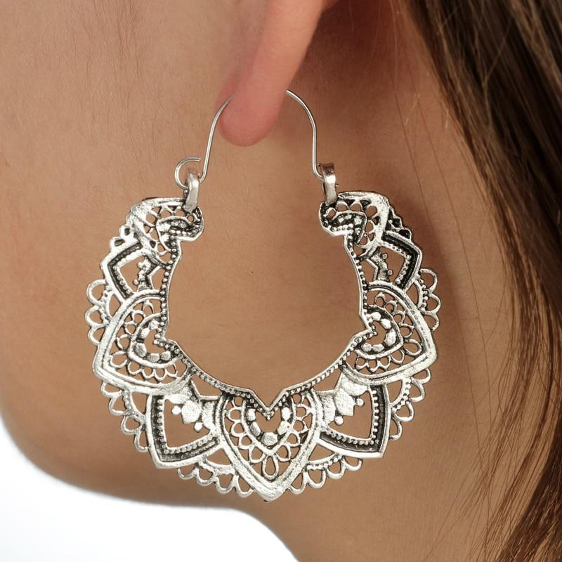 Boho Lotus Hoop Earrings Silver