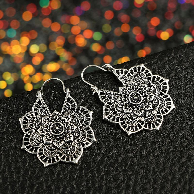 Boho Mandala Hoop Earrings Boho Peak