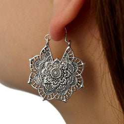 Boho Mandala Hoop Earrings Boho Peak Silver Mandala